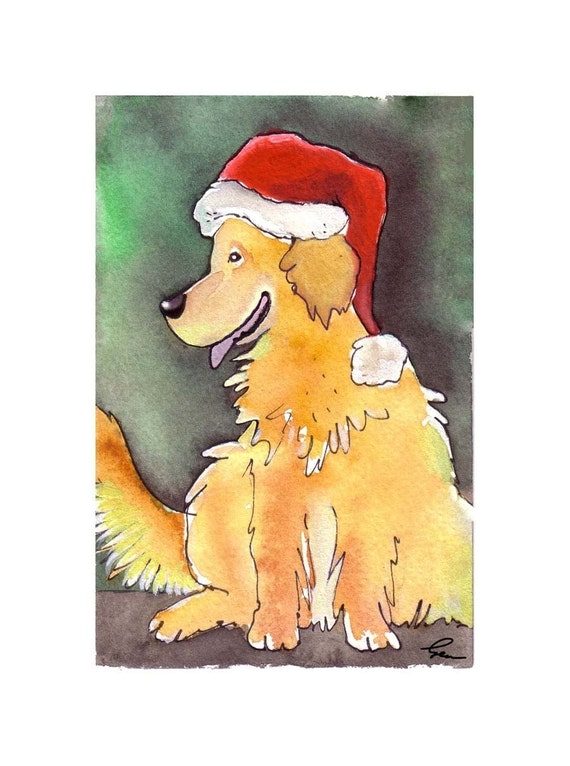 Golden Retriever Santa Watercolor Dog Greeting Card Print