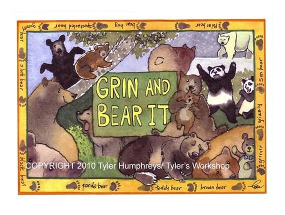 Bears - Bear Art - Bears Greeting Card - Funny Bear Watercolor Illustration Print 'Grin And Bear It'