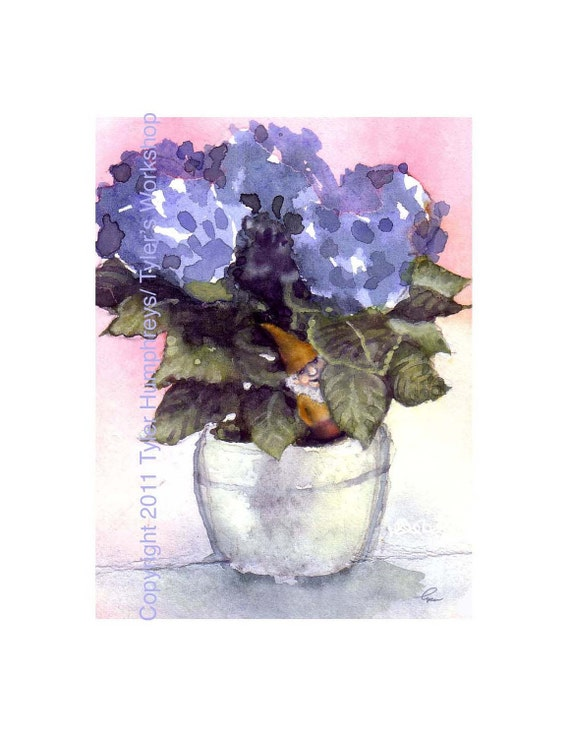 Gnome Greeting Card Blue Hydrangea Flower Watercolor Painting Illustration Print