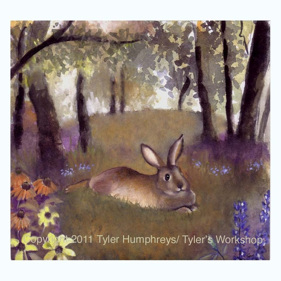 Rabbit Greeting Card- Flowers Garden Forest Watercolor Rabbit Bunny Painting Illustration Print