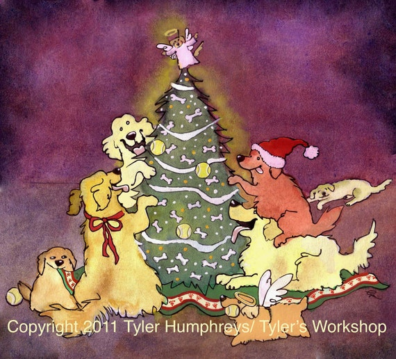 Golden Retriever Dog Christmas Cards, Funny Dog Art , Dogs Watercolor Painting Illustration Print 'Golden Christmas'