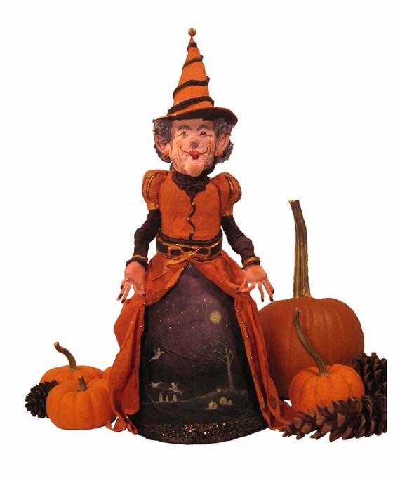 Witch Paper Mache Art Doll Halloween Paper Sculpture Decoration Ornament Figurine 'The Queen Of Halloween'