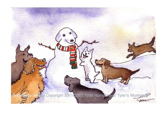 Dog Art, Dogs Greeting Card Snowman Winter Funny Dogs Watercolor Painting illustration Print 'Snow Dogs' 4x6