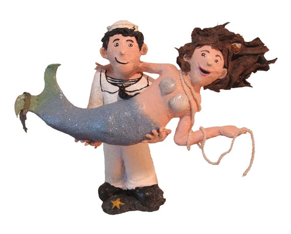 sailor and mermaid wedding cake topper paper mache mermaid amp sailor wedding cake topper sailor 19618