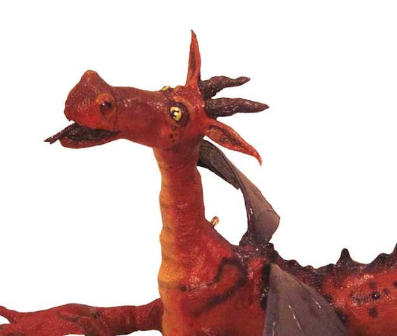 Red Dragon Doll, Hanging Red Dragon Art Doll, Paper Mache Dragon Sculpture, Dragon Art Decoration Hanging Ornament SALE CLEARANCE