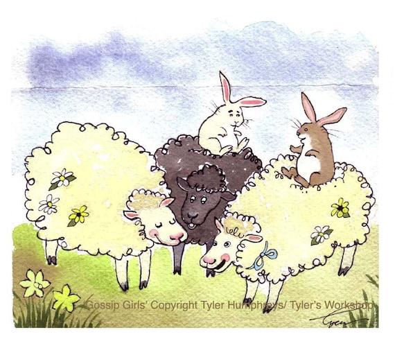 Funny Sheep & Bunny Rabbit Greeting Card - Animals Watercolor Painting Illustration Print 'Gossip Girls'