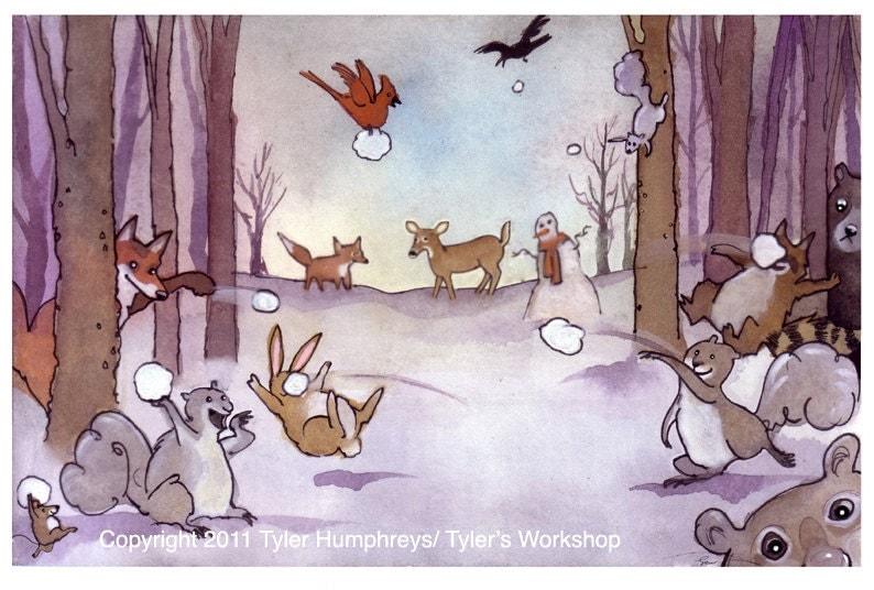 Funny Woodland Animals Card Christmas Greeting