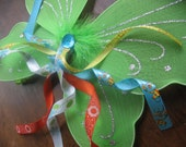 Sale - Was 19.99 - Time to Get in the Garden - Retro Lime Wings with Blue, Yellow and Orange Accents
