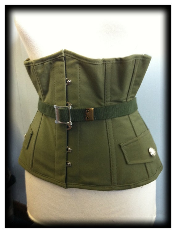 Military steel boned under bust corset and collar - limited edition