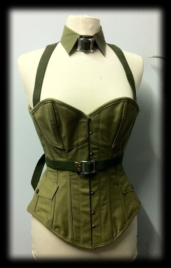 Military steel boned over bust corset and collar