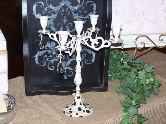 Vintage Candelabra with Polka-dots and Prism Drops
