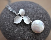 Delicacy - Silver Orchid Flower and Freshwater Coin Pearl Necklace