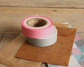 Discontinued-Japanese Washi Masking Tapes/ Pink and Gray Stripes (15m Long, 50% more) for party favor, packaging, invitation making