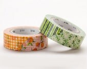 Discontinued - MT 2011 Japanese Washi Masking Tapes / Green or Orange Flowers  at your choice for Party Favor, Holiday Gifts and Invitations
