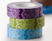 On Sale-Japanese Washi Masking Tapes Set of 3 - Elegant and Delicate Lace for Scrapbooking, Packaging, Decoration