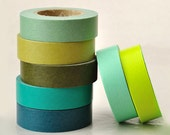 New---Solid Green Series ReMix Japanese Masking Tape Set of 7 Greens for Packaging, Weddings, Parties (15mmlong, 50 percent more)