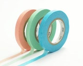 Discontinued-Japanese Washi Masking Tapes / 6mm Slim Peach, Mentha Green & Sky Blue (B) for Decorations, Packaging, Baby Shower, Weddings
