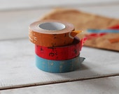 2012 - Japanese Washi Masking Tapes Set of 3 -Graffiti Set B for scrapbooking, party deco, packaging, art project