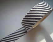 1 DOLLAR SALE - Discontinued-Japanese Washi Masking Tapes / Dark Gray Diagonal Stripes (15m Long, 50 percent more)