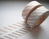 Discontinued-Japanese Washi Masking Tapes / Salmon Pink & Light Gray Stripes (15m Long, 50 percent more) for wedding, baby shower