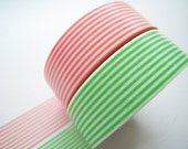 MT 2012 - Japanese Washi Masking Tapes / Green and Coral Pink Stripes for packaging, party deco, card making