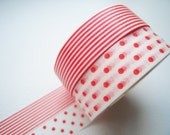 Discontinued-Japanese Washi Masking Tapes / Deep Orange Polka Dots & Stripes for Invitations, Packaging, Party favor (15m Long, 50% more)