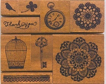 Discontinued-Pretty Japanese Margaret Stamp Set - Vintage Style (Bird Cage, Lace Key, 9 pieces)