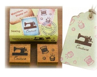 On Sale-Cute Japanese Matchbox Stamp Set - Sewing