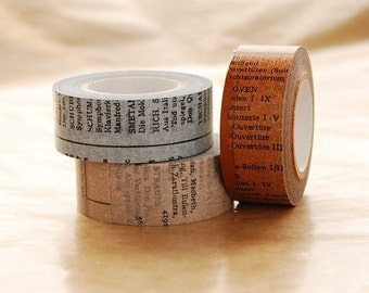 Single Japanese Washi Masking Tape -  Old Book / 20mm (Blue or Gray or Brown at your choice)