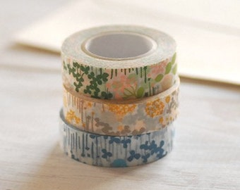 Classiky Japanese Washi Masking Tape- Little Garden Floral for wedding, journaling, packaging, planner deco, party deco, favor scrapbooking