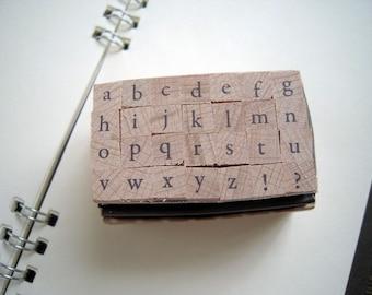 Mini Alphabet Stamp Set - Lowercase (Garamond), for card making, scrapbooking