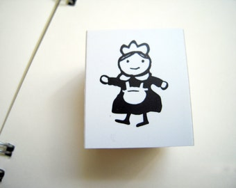 Cute Japanese Wooden Rubber Stamp-Little Maid