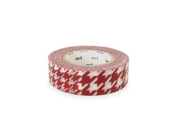 1 DOLLAR SALE - Discontinued-Japanese Washi Masking Tape / Red Houndstooth Pattern (15m Long, 50 % more)