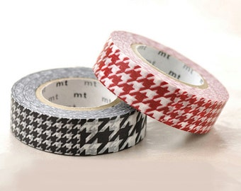 Discontinued-Japanese Washi Masking Tape SINGLE / Red or Black Houndstooth Pattern for Gift Wrapping,  Party Decoration (15m Long, 50% more)