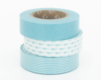 ON SALE-Discontinued Japanese Washi Masking Tapes / Baby Blue Stripe, Dots, Solid set of 3 for Baby Showers, packaging (15m Long, 50% more)