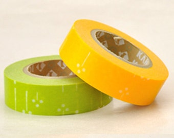 Discontinued-Japanese Washi Masking Tapes/ Green and Yellow Cotton Trees for Weddings, Birthdays and Showers (15m Long, 50 percent more)