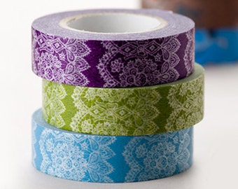 Japanese Washi Masking Tape SINGLE - Elegant and Delicate Lace for Scrapbooking, Packaging, Decoration