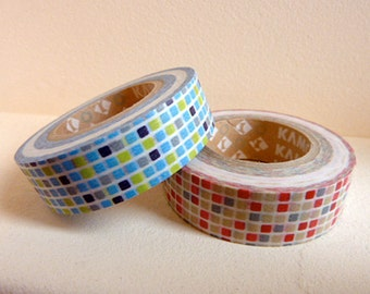 Discontinued-Japanese Washi Masking Tape SINGLE / Red or Blue Tiles for Gift Wrapping, Invitations (15m Long, 50 percent more)