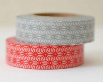 2 DOLLAR SALE - Discontinued-Japanese Washi Masking Tapes/ Red and Gray Traditional Japanese Pattern (leaves) /15m Long, 50 percent more