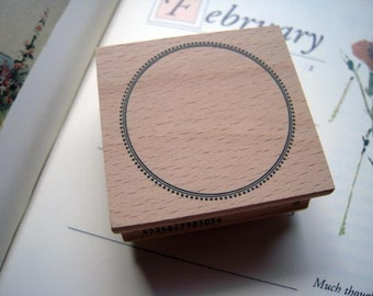 Pretty Japanese Round Label Wooden Rubber Stamp (STP-505) for Scrapbooking, Labeling, Tags Cards Making, Packaging, Party Favor