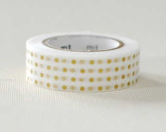 MT 2012 Japanese Washi Masking Tape / Small Gold Polka Dots for scrapbooking, packaging, party deco, card making