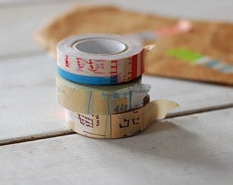 2012 - Japanese Washi Masking Tapes Set of 3 -Graffiti Set A for scrapbooking, party deco, packaging, art project
