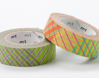 On Sale - MT 2012 Japanese Washi Masking Tapes / Orange & Green Stripe Checks for scrapbooking, packaging, party deco, card making