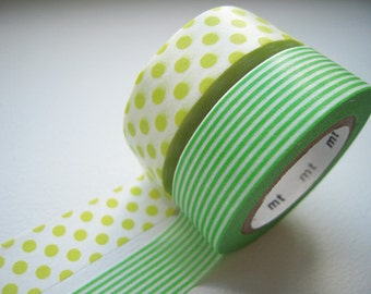 On Sale - MT 2012 Japanese Washi Masking Tapes / Green Polka Dots & Stripes for packaging, party deco, card making