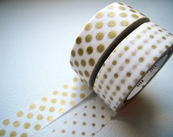 MT 2012 - Japanese Washi Masking Tapes / Big & Small Gold Polka Dots for packaging, party deco, card making