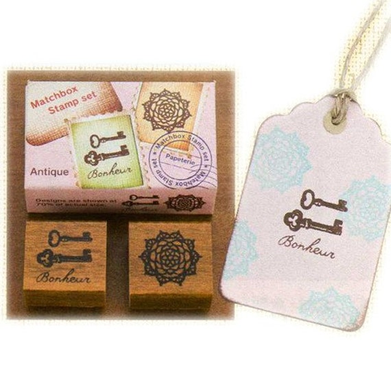 On Sale-Cute Japanese Matchbox Stamp Set - Antique