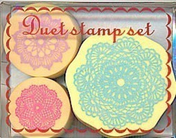 Kawaii Cute Doily Lace Pattern Rubber Stamp Set of 3