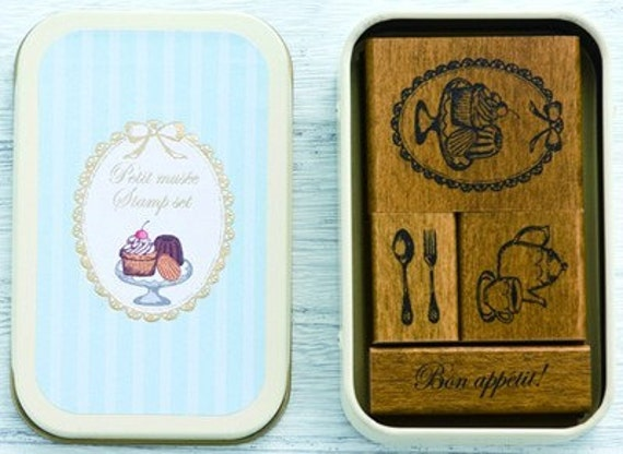 Cute Japanese Petit Musee Wooden Rubber Stamp Set-Tea Time for invitation, card and tag making, party favor, handmade items