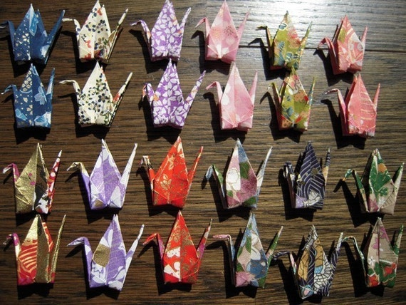 24 Tiny Cranes Folded from Real Hand-Screened Japanese Chiyogami / Perfect for Paper Crane Shower