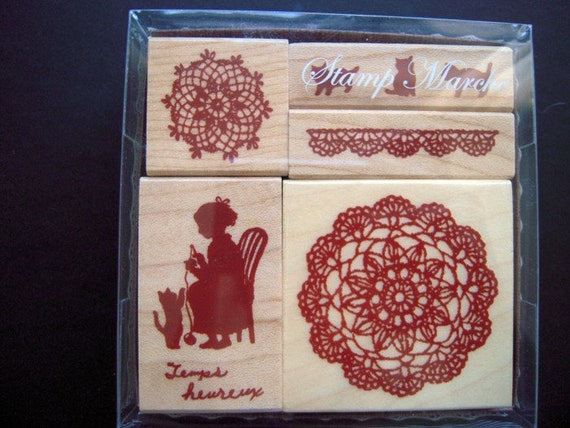 Stamp Marche Wooden Rubber Stamps - Laces, Cat and Knitting Girl (5 pieces)